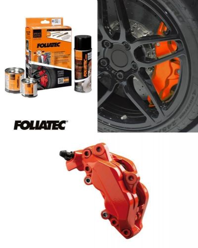 Foliatec Car Motorbike Brake Caliper Paint Kit Orange Gloss Brush On High Temp